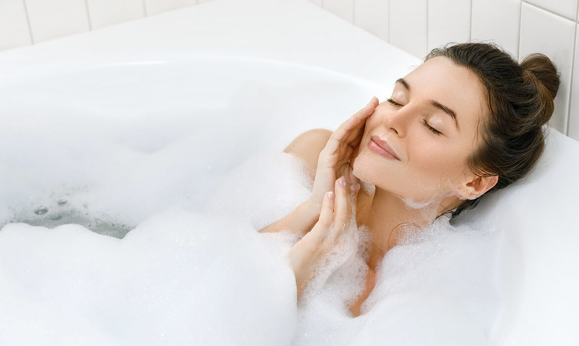 woman pampering skin
